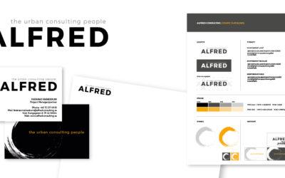 Grafisk profil för det nystartade företaget Alfred Consulting