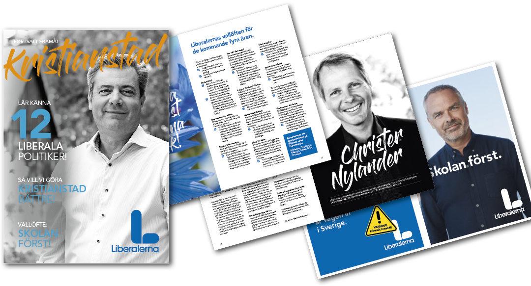 Kampanjmaterial till Liberalerna i Kristianstad inför Riksdagsvalet 2018